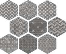 Soft Hexagon Kendo Mix Grey 23x26